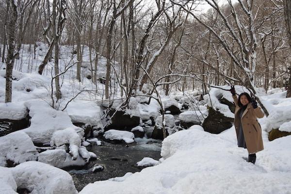 雪の奥入瀬渓流 阿修羅の流れ(下流側から)