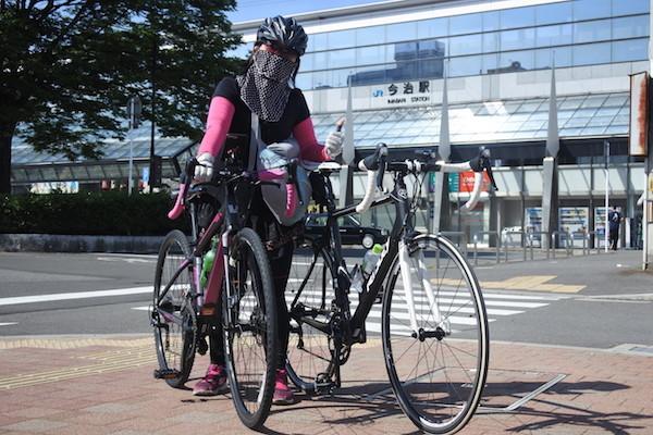 今治駅前からしまなみ海道縦断のサイクリングに出発