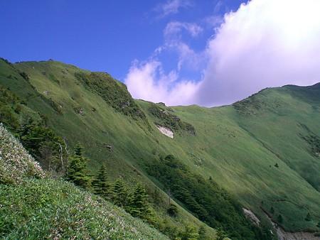 笹ヶ峰に続く稜線