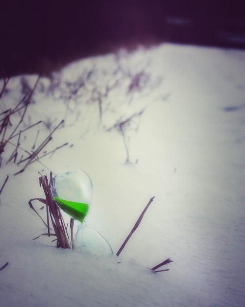 Photos: 雪道でひと息