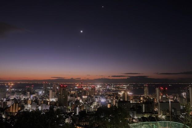 神戸のマジックアワーの朝景