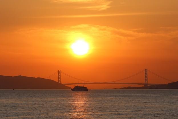 明石大橋の夕陽