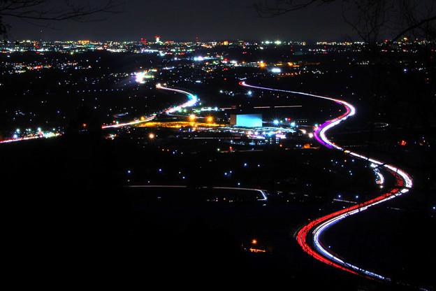 風神山からの夜景 常磐道