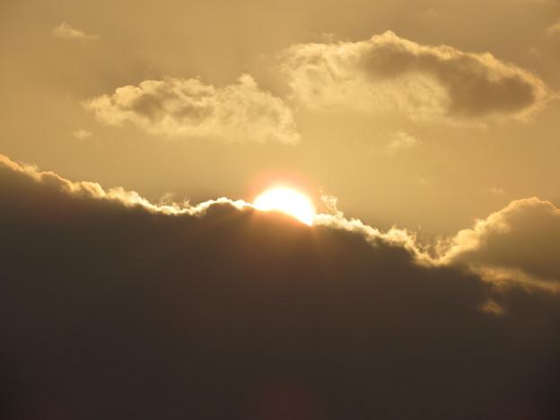 朝陽にオレンジ色の輪が♪