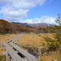 湿原から北方に三倉山、大倉山、流石山などの山々