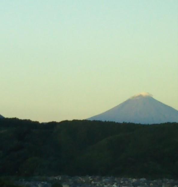 夕焼けの中の富士