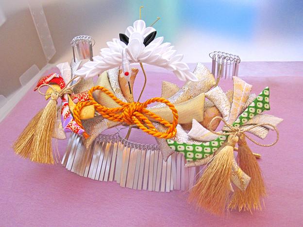 New --- crane-kanzashi bira+comb type
