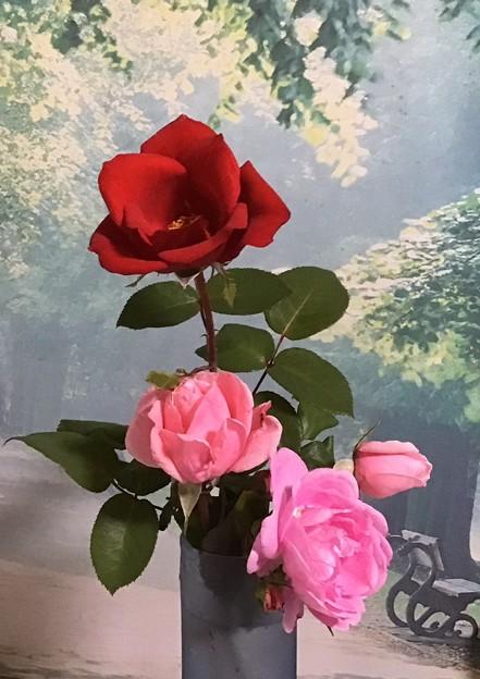 花瓶に薔薇