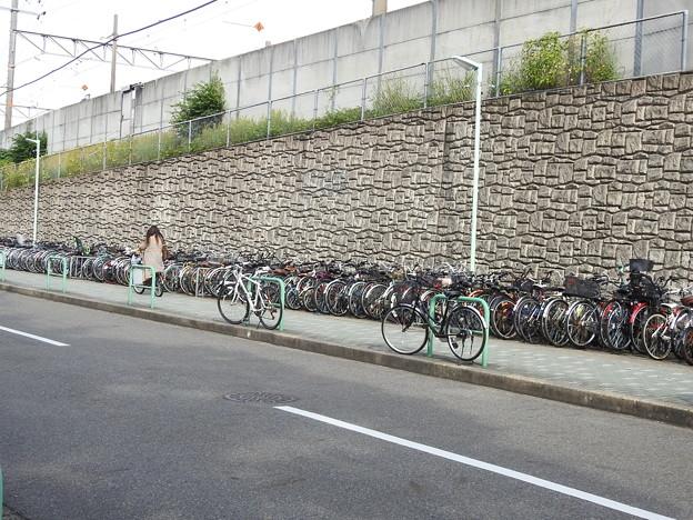 尾頭橋駅/線路沿いの自転車置き場